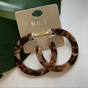 No. 3 Acrylic Tortoise Hoop Earrings NWT